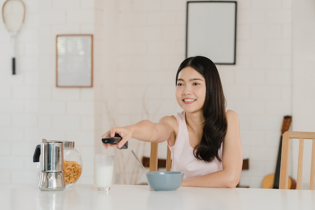 Asian japanese woman has breakfast at home Free Photo