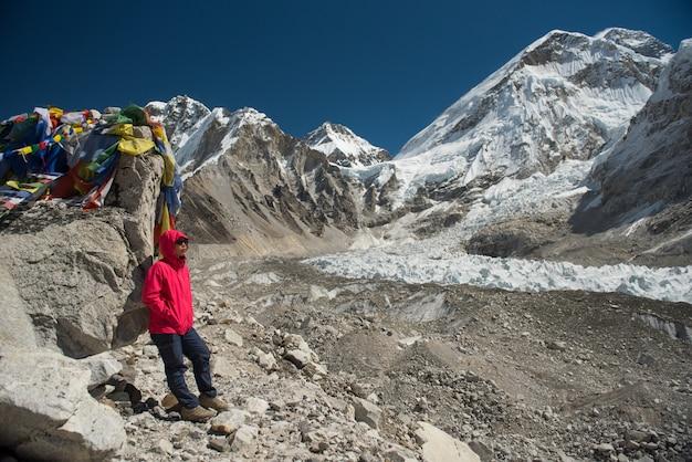 Asian lady trekker summit everest base camp ,nepal.travel concept Premium Photo