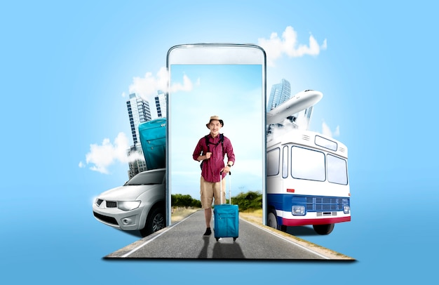 Asian man in hat with suitcase bag and backpack standing on the street Premium Photo