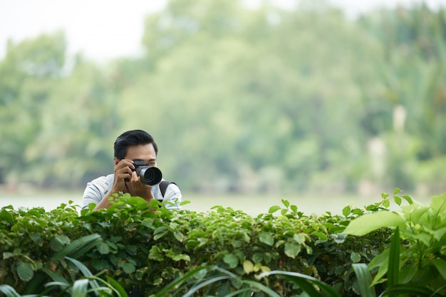 Asian man with professional camera peering over green hedge in park and taking photos Free Photo