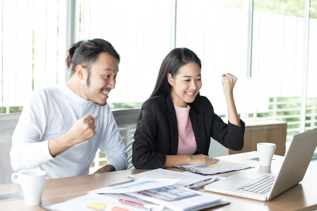 Premium Photo   Asian man working project with woman at office place
