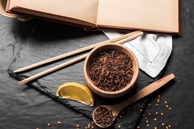 Asian meal with fried larvae Free Photo