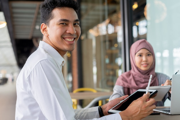 Asian muslim young students studying together Premium Photo