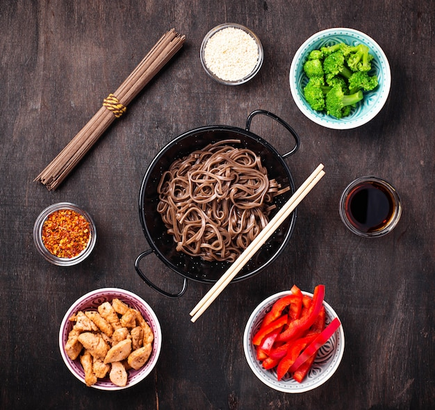 Asian noodles soba with various ingredients Premium Photo