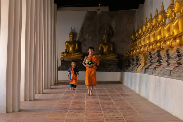 Asian novice monk walking in temple phutthaisawan at ayutthaya, thailand. Premium Photo