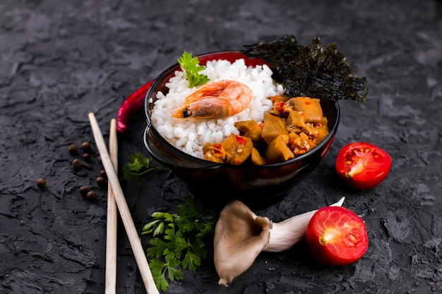 Asian rice and seafood dish top view Free Photo