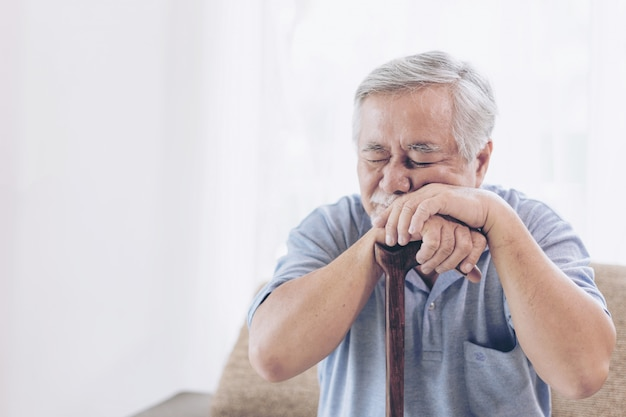 Asian senior man patients toothache hurts - elderly patients medical and healthcare concept Premium Photo