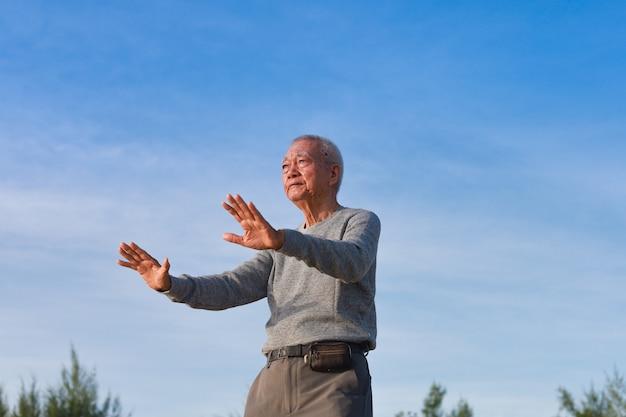 Asian senior old man practice taichi chinese kungfu on the beach Premium Photo
