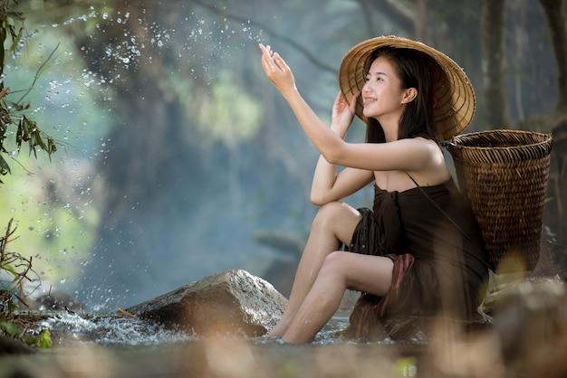 Asian Sexy Woman Bathing In Cascade Thailand Photo -9734