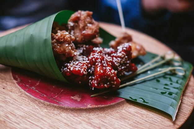 Asian street food on green leaves Free Photo