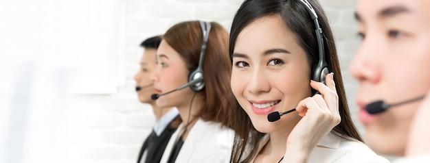 Asian telemarketing customer service agents, call center job concept Premium Photo