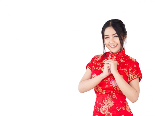 Asian woman in chinese dress traditional cheongsam isolate on white background. chinese new year concept. Premium Photo