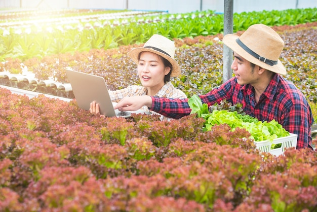 Asian woman farmer use laptop and talk with asian man gardener hold test set,they are work with teamwork Premium Photo