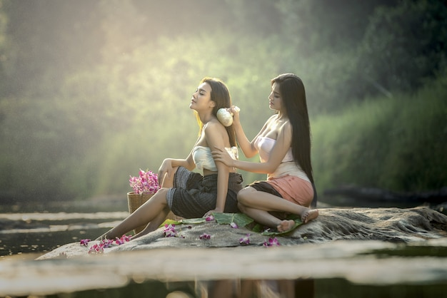 Asian woman having massage and spa salon beauty treatment concept. Premium Photo