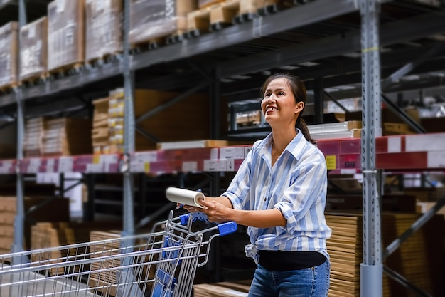 Asian woman with market trolley at furniture store Premium Photo