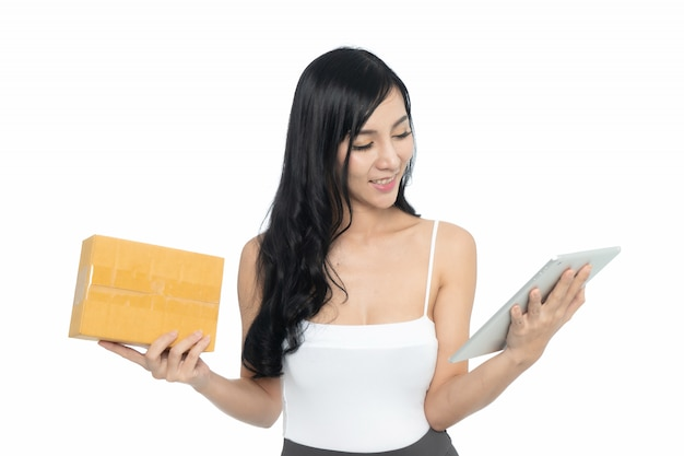 Asian woman with tablet Premium Photo