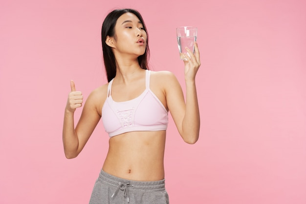 Asian woman with water glass Premium Photo