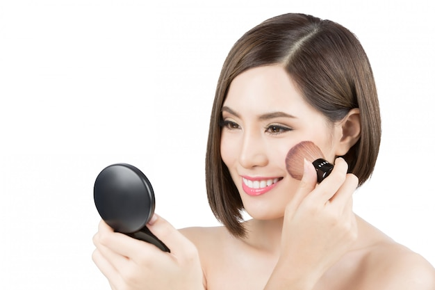 Asian women now cheek makeup Premium Photo