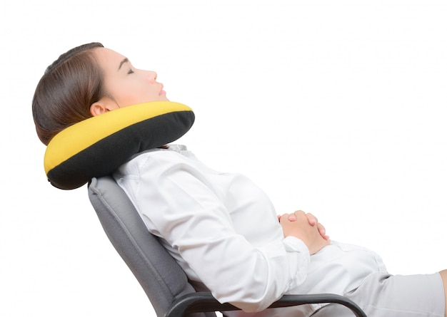 Marvelous Asian Women Using Neck Pillow And Resting On Office Chair Theyellowbook Wood Chair Design Ideas Theyellowbookinfo