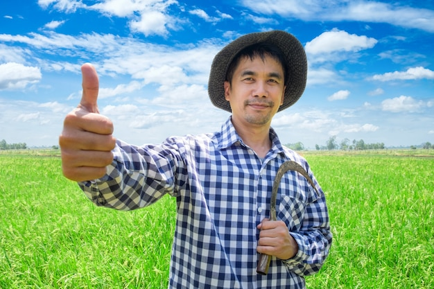 Asian young farmer happy hand thumb up and holding sickle in a green rice field and blue sky Premium Photo