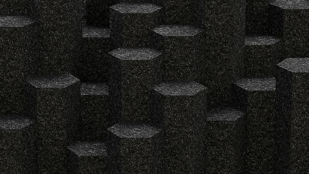 아스팔트 육각형 패턴 배경 배경입니다. 3d 렌더링. 프리미엄 사진