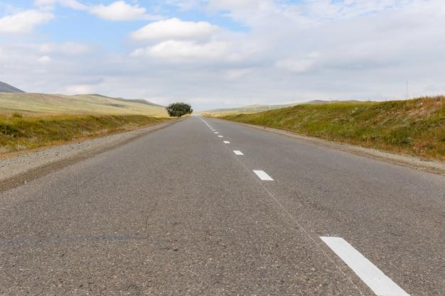 Asphalt road in mongolia Premium Photo