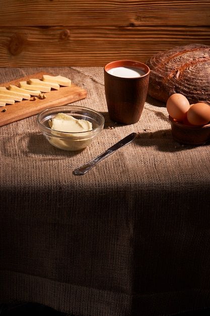 Assorted dairy products milk, cheese, butter rustic still life Premium Photo