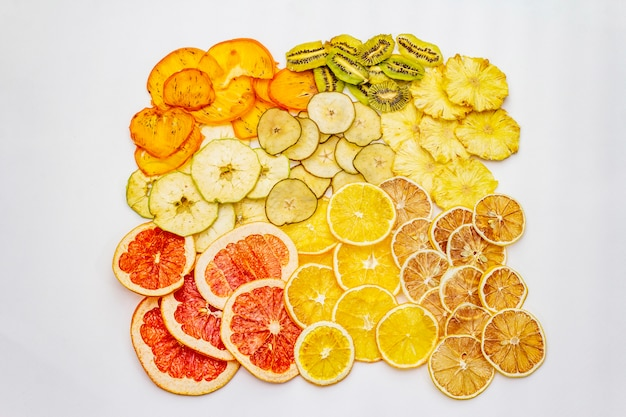 Assorted dried fruits healthy eating concept Premium Photo