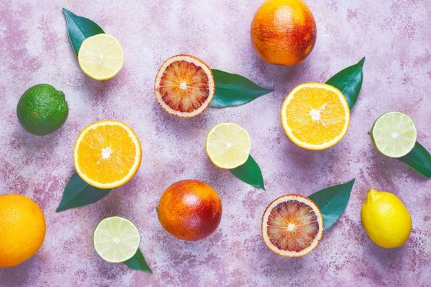 Agrumi freschi assortiti, limone, arancia, lime, arancia rossa, fresca e colorata, vista dall'alto Foto Gratuite