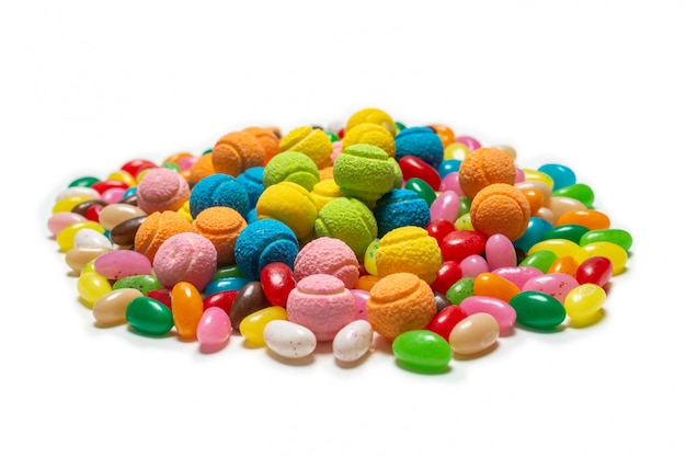 Assorted gummy candies. jelly  sweets. Premium Photo