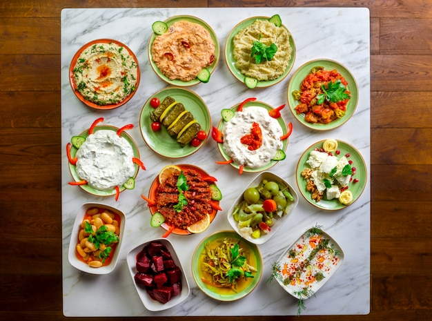 Assorted middle eastern appetizers set. Premium Photo