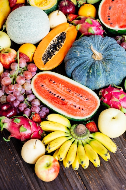 Assorted and mixed fruits Free Photo