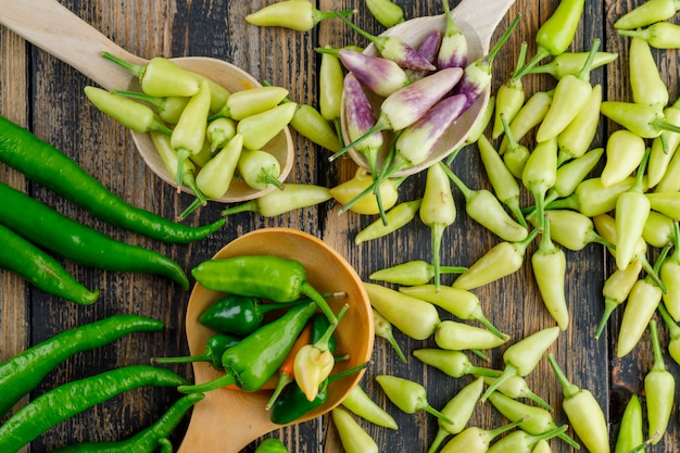 Assorted peppers in wooden spoons on wooden, flat lay. Free Photo