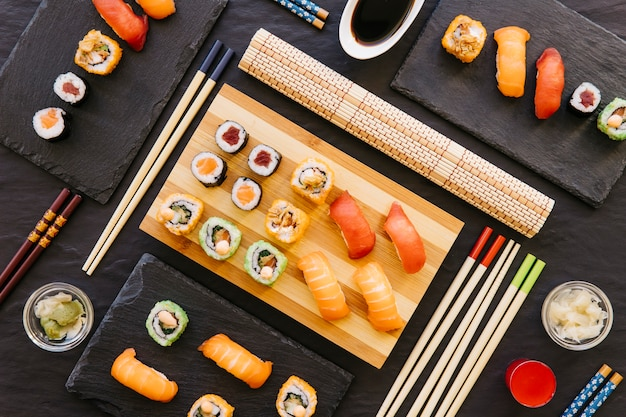 Assorted sushi composition Premium Photo