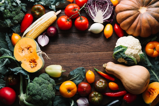 Assortment of autumn vegetables with copy space Free Photo