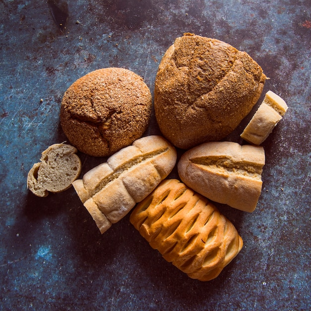 Assortment of bread top view Free Photo