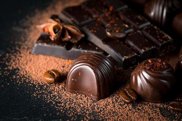 Assortment of chocolate Premium Photo