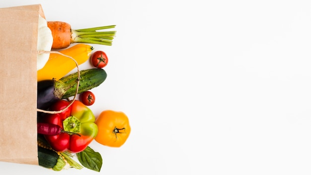 Assortment of different fresh vegetables with copy space Premium Photo