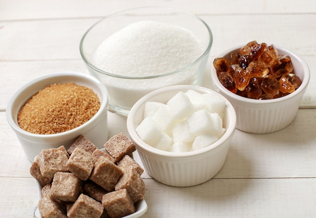 Assortment of different types of sugar Free Photo