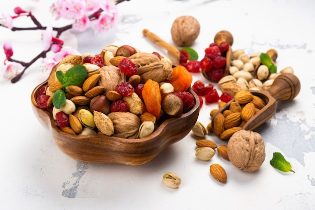 Assortment of dry fruits and nuts Premium Photo