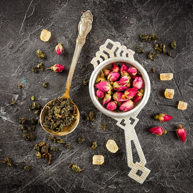 Assortment of dry tea with tea Premium Photo
