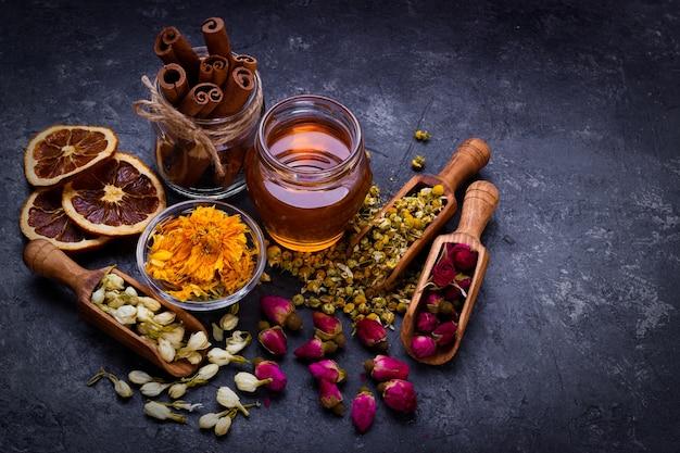 Assortment of dry tea Premium Photo