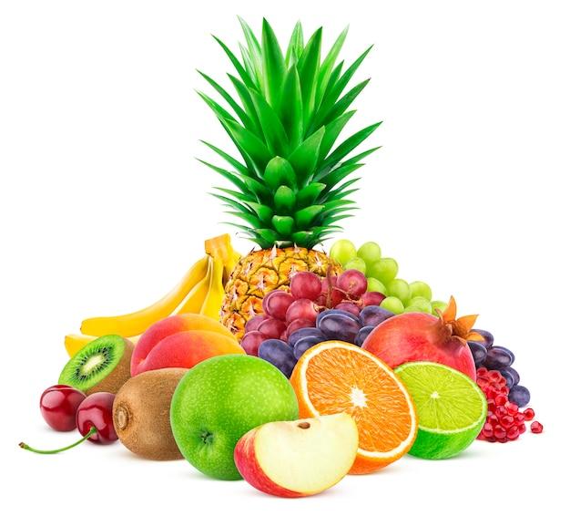 Assortment of exotic fruits isolated on white Premium Photo