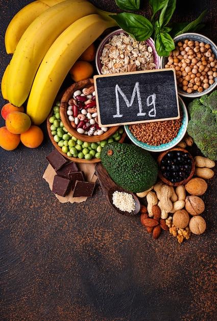 Assortment of  food containing magnesium Premium Photo