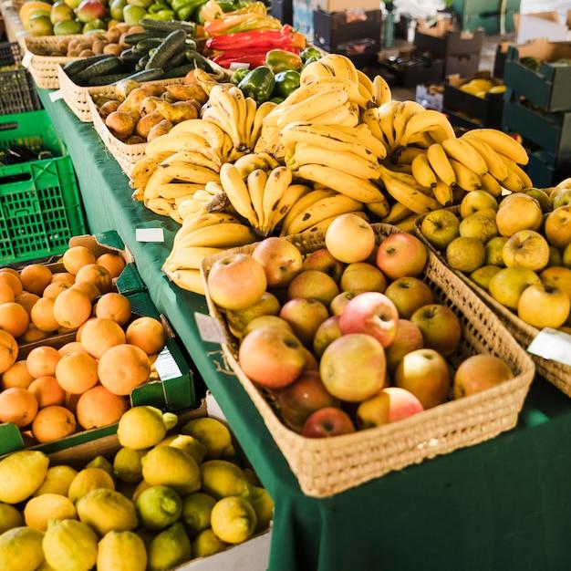 Assortment of fresh fruits at market Free Photo