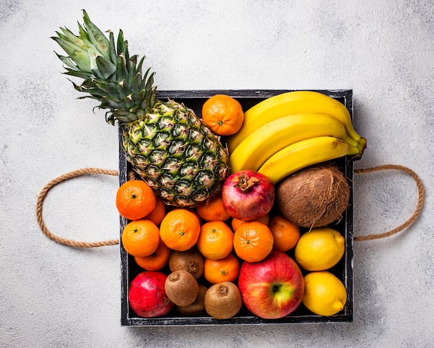 Assortment of fresh tropical fruits Premium Photo