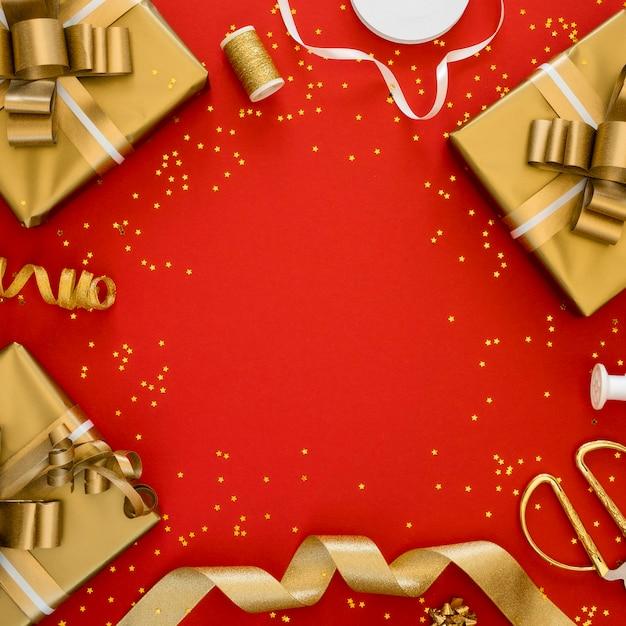 복사 공간 축제 포장 된 선물의 구색 프리미엄 사진