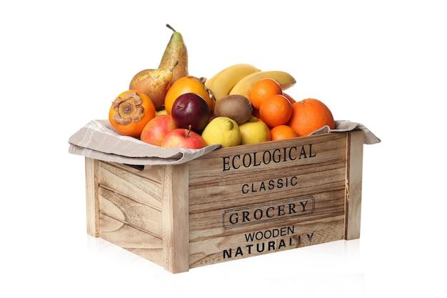 木製の箱に果物の品揃え 無料写真