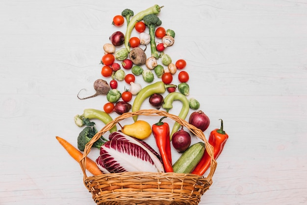 Assortment of vegetables in basket Free Photo