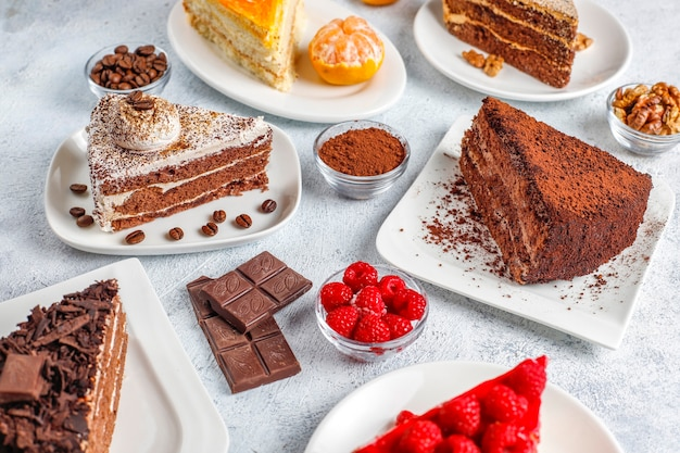 Assortment of pieces of cake. Free Photo